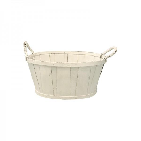 cesta ovalada blanca madera