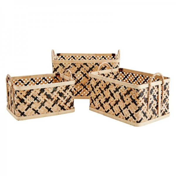 Cestas rectangulares de bambú